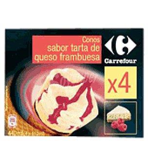 Carrefour Helado cono de strawberry y cheesecake Pack de 4x110 g