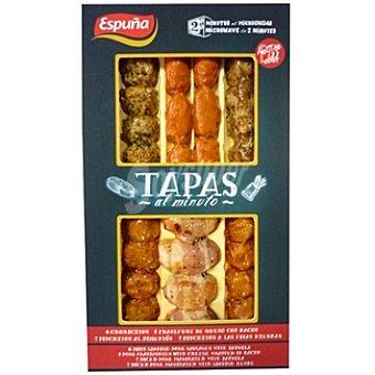 ESPUÑA TAPAS AL MINUTO Espuña tapas AL minuto 6 choricitos +4 frankfurt queso con bacon+2 pinchitos pimentón+2 a las finas hierbas Envase 160 g