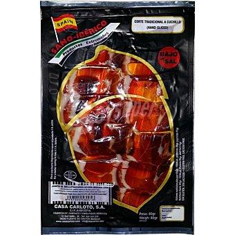 Sano iberico jamón ibérico de bellota cortado a cuchillo sobre 80 g