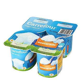 Carrefour Yogur natural azucarado Pack de 4x125 g