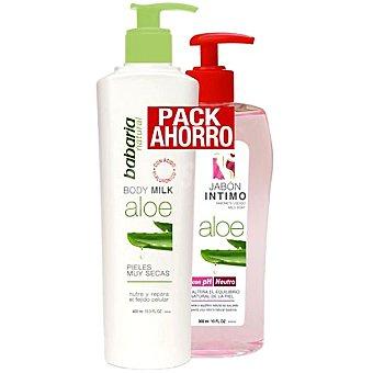 Babaria Leche corporal de Aloe para piel muy seca dosificador 400 ml + jabón íntimo de Aloe dosificador 300 ml 400 ml