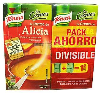 KNORR Crema líquida alicia (calabaza, zanahoria y guisantes) 2 unidades de 500 cc (1L)