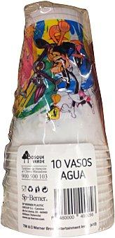 Bosque Verde Vaso desechable plastico 200cc decoracion warner 10 u