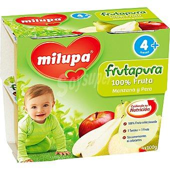 MILUPA FRUTAPURA Puré de manzana y pera Pack 4 tarrina 100 g