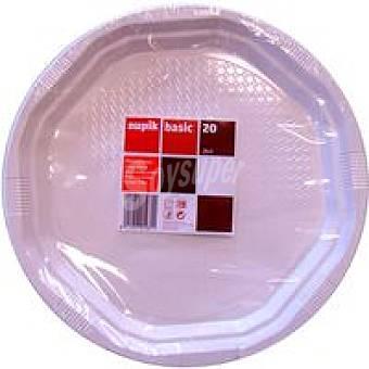 Nupik Plato blánco de plástico Pack 20 unid