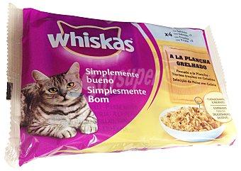 Whiskas Comida para gatos Simplemente Bueno pescados a la plancha en trocitos con gelatina para gatos  4 bolsas de 85 g