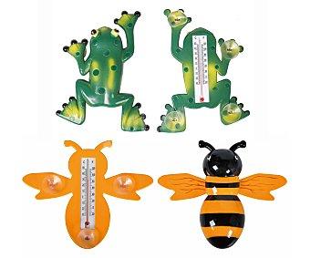 Productos Económicos Alcampo Termómetro tanto de interior como de exterior, de 23 centímetros y con forma de abeja, mariquita o rana 1 unidad