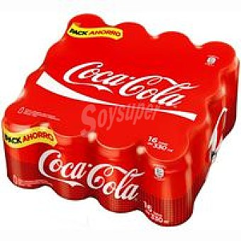COCA COLA Refreco de cola 16 latas de 33 cl