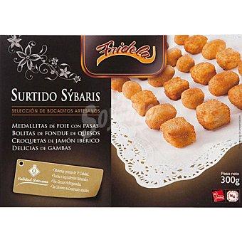 FRIDELA Surtido Sýbaris medallitas surtidas de foie queso gambas y jamón Bandeja 300 g