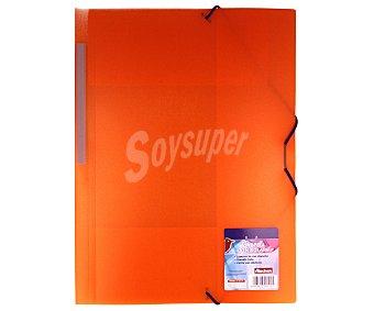Auchan Carpeta de polipropileno transparente tamaño folio, con 3 solapas auchan