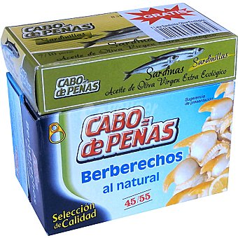 Cabo de Peñas Lote 2 berberechos de Holanda al natural 45-55 piezas gratis 1 lata sardinillas ecológicas Latas 63 g neto escurrido