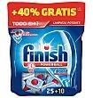 Lavavajillas maquina pastillas todo en 1 regular 25 + 40% 35 unidades Finish