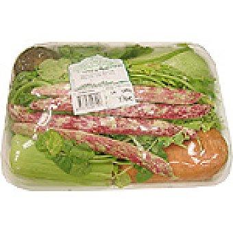 Potaje de berros con calabacín blanco, zanahoria, ñame, judía y piña de maíz peso aproximado Bandeja de 1,5 kg
