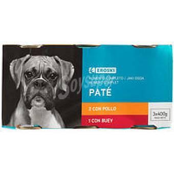 Eroski Patés surtidos para perro Pack 3x400 g