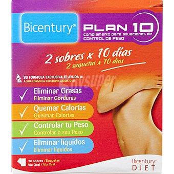 Bicentury Complemento para situaciones de control de peso Plan 10 20 sobres (Estuche 128 g)