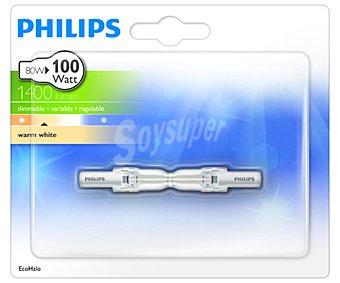 Philips Bombilla ecohalógena casquillo R7S, 80 Watios, luz cálida 1 unidad