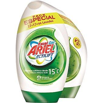 Ariel detergente máquina líquido gel concentrado con Actilift pack especial 44 lavados 27 + 17 dosis