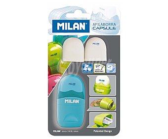 MILÁN CAPSULE Sacapuntas cuerpo de plástico + borrador con soporte protector + 2 recambios borrador Capsule