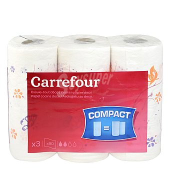 Carrefour Papel de cocina decorado doble rollo 3 rollos
