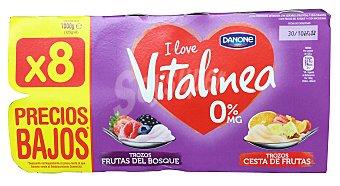 Vitalínea Danone Yogur desnatado vitalinea trozos 4 frutas del bosque - 4 cesta frutas (macedonia) 8 unidades de 125 g