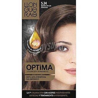 LLONGUERAS tinte Optima marrón oscuro almendra nº 5.24 coloración con aceites regenerantes anti-edad  caja 1 unidad