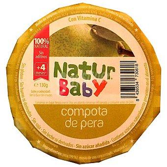 NATURBABY Compota de pera 100% natural sin gluten sin azúcar añadida Tarrina 130 g