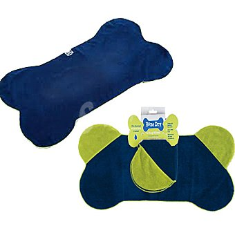Interfergamo Toalla con forma de hueso con bolsillo para mascotas color azul y verde 1 unidad