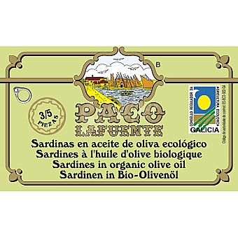 Paco lafuente sardinas en aceite de oliva ecológico 3-5 piezas  lata 88 g neto escurrido