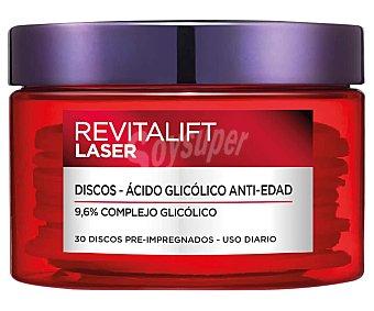 L'Oréal Discos desmaquillantes de uso diario con ácido glicólico y efecto antiedad revitalif laser 30 uds