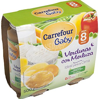 Carrefour Baby Tarrito de verduras con merluza Pack 2x250 g