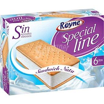 ROYNE SPECIAL LINE Sándwich helado de nata sin azúcar 6 unidades estuche 600 ml 6 unidades