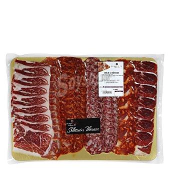Juan Luna Tabla 6 ibéricos de cebo loncheado: Jamón, paleta y lomo 50% raza ibérica, chorizo, salchichón y morcón 400 g