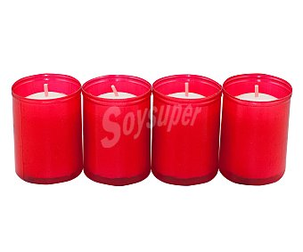 AROMÁTICO Velas calientaplatos o tealights de color blanco con envase de color rojo Pack de 4 Unidades