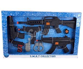 PRODUCTO ECONÓMICO ALCAMPO Conjunto de Policía con Cinco Armas,Esposas, Reloj y Walkie-Talkie 1 Unidad