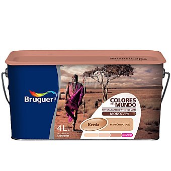 BRUGUER Kenia Natural Pintura plástica color marrón natural mate para interior Colores del Mundo 4 l