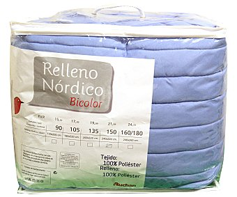 Auchan Edredón nórdico bicolor tonos azules para cama de 150 centímetros, relleno 100% poliéster, densidad de 150 g/m² 1 unidad