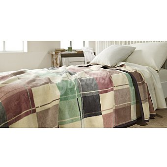 Casactual manta estampada con cuadros multicolores para cama 90 cm