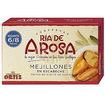 Ortiz ría de Arosa mejillones en escabeche fritos en aceite de oliva gigantes 6-8 piezas Lata 69 g