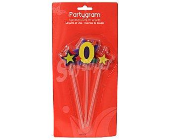PARTYGRAM Pack de 3 velas (2 estrellas y número 0) 3 unidades