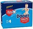 Pants pañal & braguita unisex de 9 a 15 kg talla 4 paquete 33 unidades Dodot