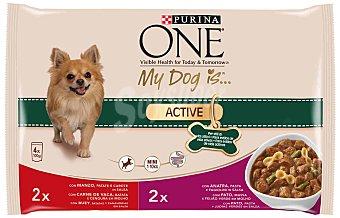 Purina One Comida húmeda para perros adultos Purina One My dog is Mini Active 4 x 100 gr 4 x 100 gr