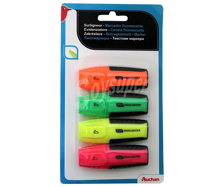 auchan lote de 4 mini marcadores fluorescentes con tinta de color rosa amarilla verde y. Black Bedroom Furniture Sets. Home Design Ideas