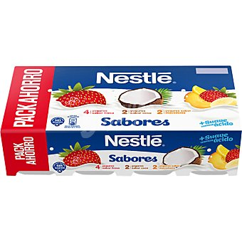 Nestlé Yogur sabores 4 fresa + 2 coco + 2 macedonia Pack 8 unidades 120 g