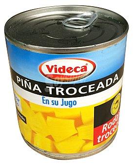 VIDECA Piña en su jugo troceada  Bote de 270 g Peso escurrido