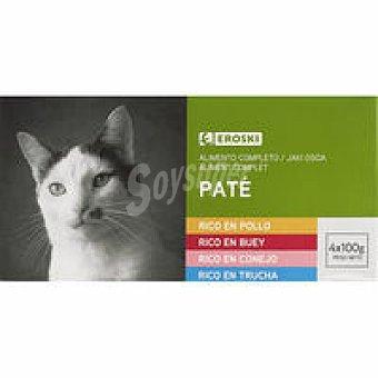 Eroski Patés surtidos para gatos Pack 4x100 g