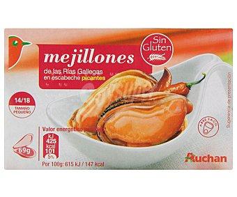 Auchan Mejillones pequeños en escabeche picante Lata de 111 gramos