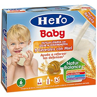 Hero Baby Papilla liquida 8 cereales miel a partir 6 meses Pack 2 x 250 cc - 500 cc