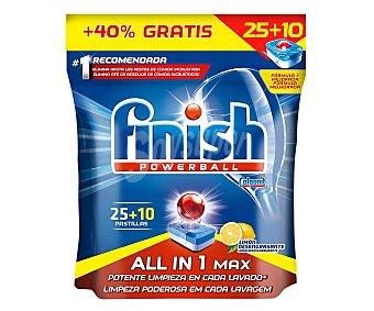 Finish Detergente en pastillas para lavavajillas concentrado aroma limón Paquete 25 + 10 cápsulas