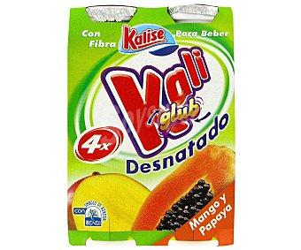 KALIGLUB de KALISE Yogur Líquido Desnatado con Mango-Papaya Pack 4 Unidades de 187 Gramos