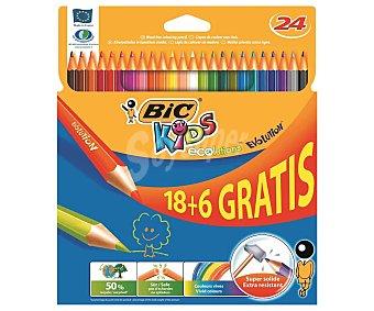 Evolution Caja con 24 lápices para colorear, con mina extra dura y hechos de madera reciclada al 50% BIC Kids Kids evolution